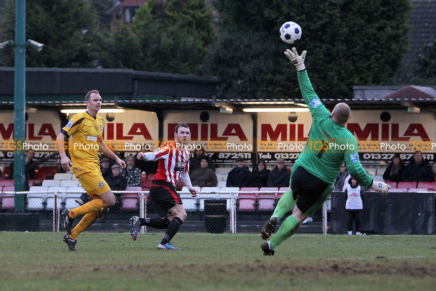 Martin Tuohy of Hornchurch finds the net but his effort is ruled out for offside - AFC Hornchurch vs Sutton United - Blue Square Conference South Football at The Stadium, Upminster Bridge, Essex - 09/02/13 - MANDATORY CREDIT: Gavin Ellis/TGSPHOTO - Self billing applies where appropriate - 0845 094 6026 - contact@tgsphoto.co.uk - NO UNPAID USE.