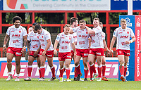 Picture by Allan McKenzie/SWpix.com - 29/04/2018 - Rugby League - Betfred Super League - Hull KR v Leeds Rhinos - KC Lightstream Stadium, Hull, England - Hull KR's Robbie Mulhern is congrtatulated on scoring a try against Leeds.