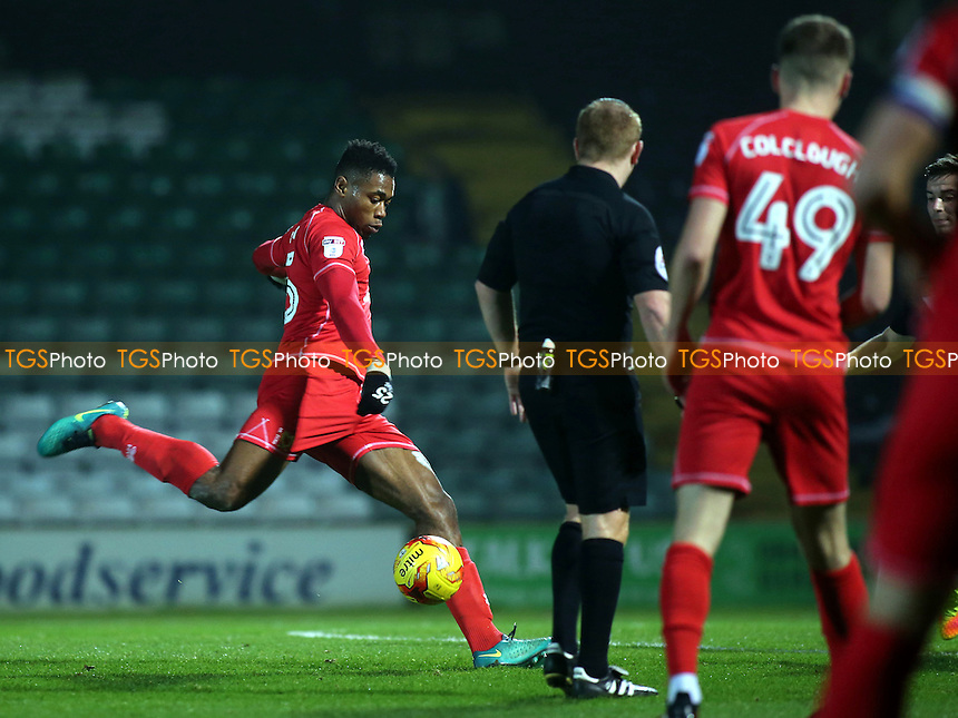 Chuks Aneke of MK Dons takes a shot at the Yeovil goal during Yeovil Town vs MK Dons, Checkatrade Trophy Football at Huish Park on 6th December 2016