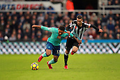 4th November 2017, St James Park, Newcastle upon Tyne, England; EPL Premier League football, Newcastle United Bournemouth; Jordon Ibe of AFC Bournemouth is fouled by Javi Manquillo of Newcastle United in the second half
