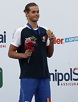 Swimming 55° Settecolli trophy Foro Italico, Rome on June 30, June 2018.<br /> Swimmer Robert-Andrei Glinta, of Romania, shows the gold medal after winning the men's 100 meters Backstroke at the Settecolli swimming trophy in Rome, on June 30, 2018.<br /> UPDATE IMAGES PRESS/Isabella Bonotto