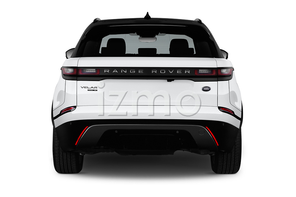 Straight rear view of 2018 Land Rover Range-Rover-Velar Dynamic-SE 5 Door SUV Rear View  stock images