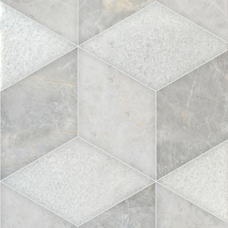 Euclid Grandiose, a hand-cut stone mosaic, shown in polished Stratus, Snow White, and Desert Sky, is part of the Semplice® collection for New Ravenna.