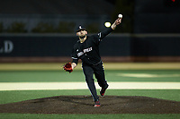 Louisville Cardinals relief pitcher Michael Kirian (33) delivers a pitch to the plate against the Wake Forest Demon Deacons at David F. Couch Ballpark on March 6, 2020 in  Winston-Salem, North Carolina. The Cardinals defeated the Demon Deacons 4-1. (Brian Westerholt/Four Seam Images)