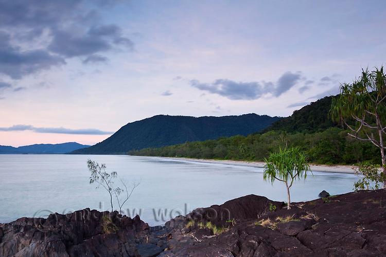 Twilight view along Noah Beach.  Daintree National Park, Queensland, Australia