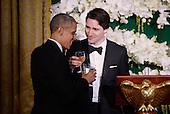 United States President Barack Obama and Prime Minister Justin Trudeau of Canada exchange toasts at the state dinner honoring the Prime Minister and Mrs. Sophie Gr&eacute;goire Trudeau at the White House March 10, 2016 in Washington, DC. <br /> Credit: Olivier Douliery / Pool via CNP