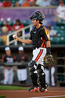 Aberdeen IronBirds catcher Alfredo Gonzalez (19) during a game against the Staten Island Yankees on August 23, 2018 at Leidos Field at Ripken Stadium in Aberdeen, Maryland.  Aberdeen defeated Staten Island 6-2.  (Mike Janes/Four Seam Images)