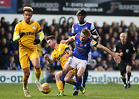 Preston North End's Alan Browne battles with Ipswich Town's Gwion Edwards<br /> <br /> Photographer David Shipman/CameraSport<br /> <br /> The EFL Sky Bet Championship - Ipswich Town v Preston North End - Saturday 3rd November 2018 - Portman Road - Ipswich<br /> <br /> World Copyright &copy; 2018 CameraSport. All rights reserved. 43 Linden Ave. Countesthorpe. Leicester. England. LE8 5PG - Tel: +44 (0) 116 277 4147 - admin@camerasport.com - www.camerasport.com