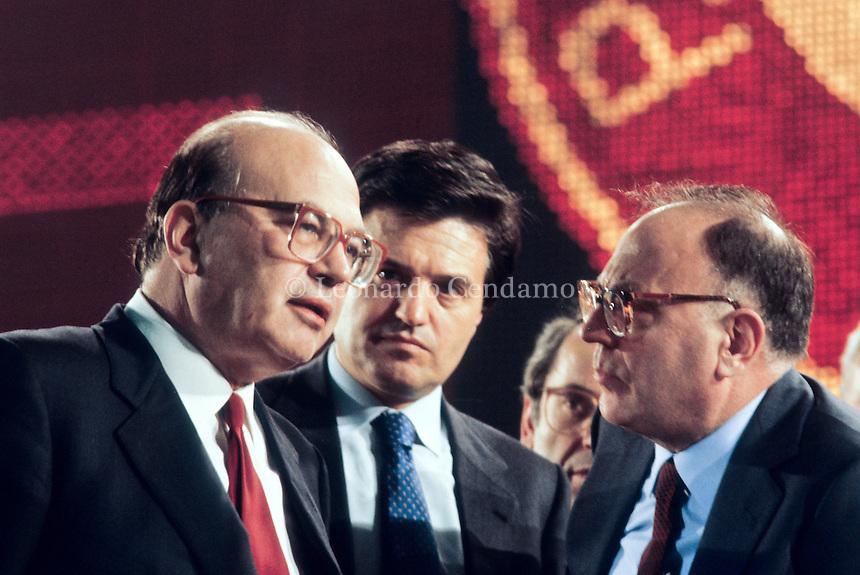 Bettino Braxi, Angelo Tiraboschi e Rino Formica, italians politicians. 44° Congresso di Rimini del Partito Socialista Italiano 1987. © Leonardo Cendamo