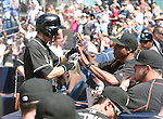 (L-R) Ichiro Suzuki, Barry Bonds (Marlins), JUNE 15, 2016 - MLB : Ichiro Suzuki (L) of Miami Marlins celebrates with hitting coach Barry Bonds in the ninth inning during the Major League Baseball game between the San Diego Padres and the Miami Marlins  at PetCo Park in San Diego, California, United States. He raised his career total in the Japanese and North American major leagues to 4,257, passing Pete Rose's record Major League Baseball total. (Photo by AFLO)