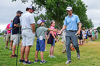 Webb Simpson (USA) shakes hands with fans as he makes his way from 10 to 11 during round 4 of the Dean &amp; Deluca Invitational, at The Colonial, Ft. Worth, Texas, USA. 5/28/2017.<br /> Picture: Golffile | Ken Murray<br /> <br /> <br /> All photo usage must carry mandatory copyright credit (&copy; Golffile | Ken Murray)