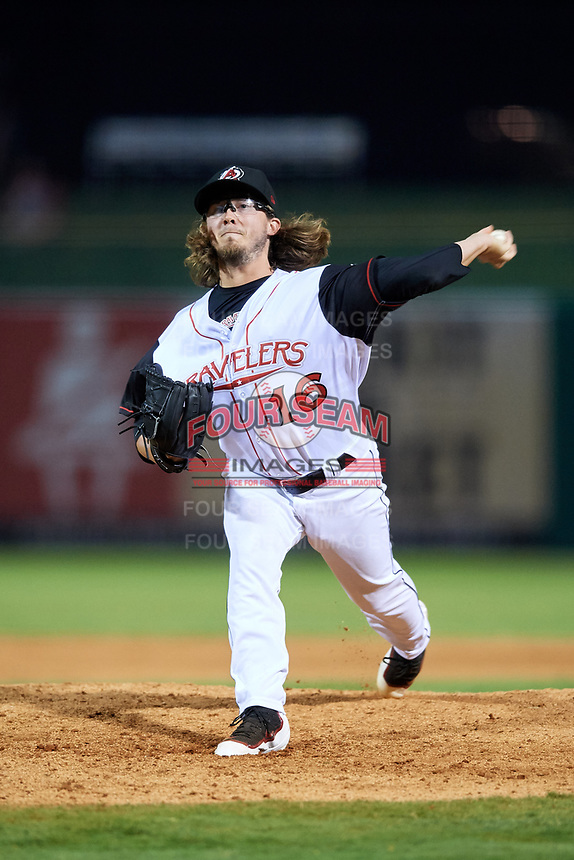 Arkansas Travelers relief pitcher Zac Curtis (16) delivers a pitch during a game against the Frisco RoughRiders on May 26, 2017 at Dickey-Stephens Park in Little Rock, Arkansas.  Arkansas defeated Frisco 4-2.  (Mike Janes/Four Seam Images)