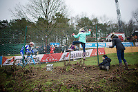 &quot;Go Daddy! Go!&quot;; Jonathan Page (USA/XcelLED) being encouraged by his kids and wife<br /> <br /> Zolder CX UCI World Cup 2014