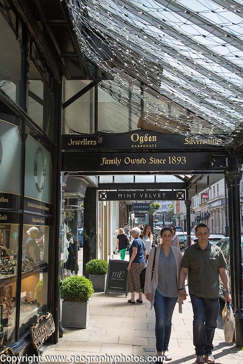 People shopping in Harrogate, Yorkshire, England, UK