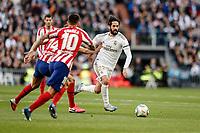 1st February 2020; Estadio Santiago Bernabeu, Madrid, Spain; La Liga Football, Real Madrid versus Atletico de Madrid; Francisco Alarcon, ISCO (Real Madrid) breaks inside ocvered by Correa of Atletico