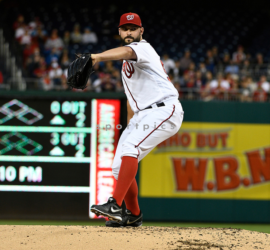 WASHINGTON DC - May 25, 2017: Tanner Roark #57 of the Washington Nationals during a game against the Seattle Mariners on May 25, 2017 at Nationals Park in Washington DC. The Mariners beat the Nationals 4-2.(Chris Bernacchi/SportPics)