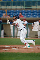 Mahoning Valley Scrappers Pedro Alfonseca (27) bats during a NY-Penn League game against the Hudson Valley Renegades on July 15, 2019 at Eastwood Field in Niles, Ohio.  Mahoning Valley defeated Hudson Valley 6-5.  (Mike Janes/Four Seam Images)