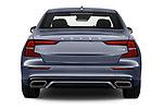 Straight rear view of a 2019 Volvo S60 R-Design 4 Door Sedan stock images