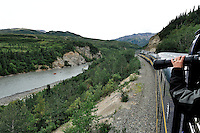Train passengers often spot rafters floating through the Nenana River canyon north of Denali National Park. The Alaska Railroad's Denali Star train runs between Anchorage and Fairbanks, with Denali one of the stops along the way.