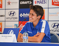 20190819 – GENT, BELGIUM : Gent's Eva Castano Candela pictured during a pre-season press conference presenting the new players  , new staff and new methods for the next season 2019-2020 for the AA Gent Ladies in the Belgian top division – The Superleague -  , Monday 19 th August 2019 at the Ghelamco Stadium in GENT  , Belgium  .  PHOTO SPORTPIX.BE | DAVID CATRY