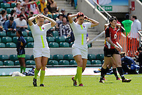 Michaela Staniford (left) and Joanne Watmore of England during the iRB Marriott London Sevens at Twickenham on Sunday 13th May 2012 (Photo by Rob Munro)
