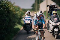 race leaders Sean de Bie (BEL/Verandas Willems-Crelan) & eventual winner Krists Neilands (LAT/Israel Cycling Academy)<br /> <br /> 3rd Dwars Door Het hageland 2018 (BEL)<br /> 1 day race:  Aarschot > Diest: 198km