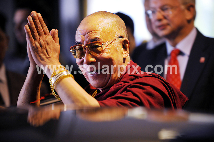 **ALL ROUND PICTURES FROM SOLARPIX.COM**.**SYNDICATION RIGHTS FOR UK AND SPAIN ONLY**.The leader of the Tibetan people the Dalai Lama and the prime Minister of Germany Hesse Roland Koch during a press conference in Frankfurt. .The Dalai Lama is  on an official visit to Germany for 5 days..This pic:Dalai Lama.JOB REF:6410-CPR/Thomas Lohnes/dfd-nes          DATE:14_05_08.**MUST CREDIT SOLARPIX.COM OR DOUBLE FEE WILL BE CHARGED* *UNDER NO CIRCUMSTANCES IS THIS IMAGE TO BE REPRODUCED FOR ANY ONLINE EDITION WITHOUT PRIOR PERMISSION*