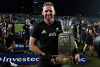 All Blacks captain Kieran Read with the Freedom Cup after winning the Rugby Championship match between the New Zealand All Blacks and South Africa Springboks at QBE Stadium in Albany, Auckland, New Zealand on Saturday, 16 September 2017. Photo: Shane Wenzlick / lintottphoto.co.nz