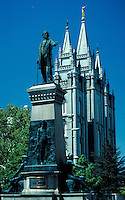 Brigham Young Statue & Latter Day Saints (Mormon) Temple at Temple Square in Salt Lake City, Utah. ornamental architecture, religions, Christianity, historical figures. Salt Lake City Utah.