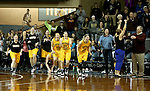SIOUX FALLS, SD: FEBRUARY 28: The Northern State University bench erupts after the final horn defeating the University of Sioux Falls 55-52 in the Women's NSIC Championship Game at the Sanford Pentagon. (Photo by Dave Eggen/Inertia)