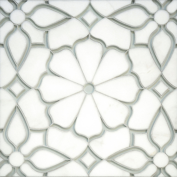 Estelle, a handmade mosaic shown in honed Thassos and Tropical White glass. Designed by Sara Baldwin Designs for New Ravenna.