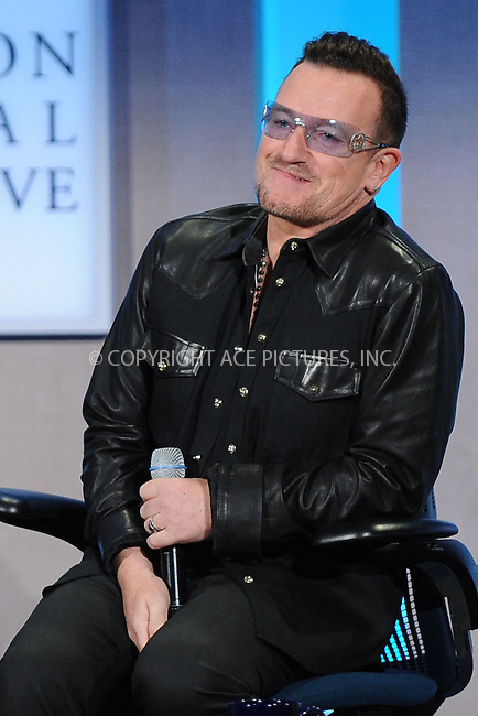WWW.ACEPIXS.COM<br /> September 24, 2013 New York City<br /> <br /> Bono on stage during the annual Clinton Global Initiative (CGI) meeting on September 24, 2013 in New York City.<br /> <br /> By Line: Kristin Callahan/ACE Pictures<br /> <br /> ACE Pictures, Inc.<br /> tel: 646 769 0430<br /> Email: info@acepixs.com<br /> www.acepixs.com<br /> <br /> Copyright: Kristin Callahan/ACE Pictures
