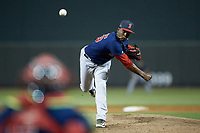 Salem Red Sox relief pitcher Joan Martinez (25) delivers a pitch to the plate against the Winston-Salem Dash at BB&T Ballpark on April 21, 2018 in Winston-Salem, North Carolina.  The Dash walked-off the Red Sox 4-3.  (Brian Westerholt/Four Seam Images)
