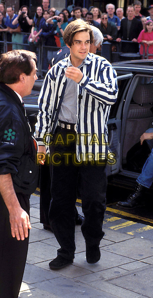 ROBBIE WILLIAMS - TAKE THAT.www.capitalpictures.com.sales@capitalpictures.com.© Capital Pictures.stripy blazer, jacket, full length, full-length
