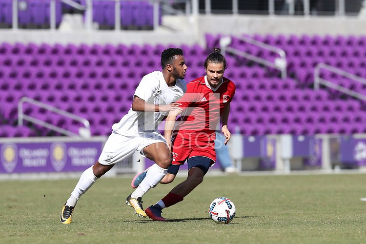 Orlando, Florida - Wednesday January 17, 2018: Mo Adams, Manuel Cordeiro. Match Day 3 of the 2018 adidas MLS Player Combine was held Orlando City Stadium.