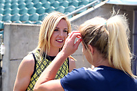 Cary, North Carolina  - Saturday August 19, 2017: Lifetime broadcaster Aly Wagner interviews McCall Zerboni prior to a regular season National Women's Soccer League (NWSL) match between the North Carolina Courage and the Washington Spirit at Sahlen's Stadium at WakeMed Soccer Park. North Carolina won the game 2-0.