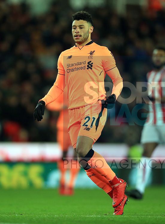 Alex Oxlade-Chamberlain of Liverpool during the premier league match at the bet365 Stadium, Stoke on Trent. Picture date 29th November 2017. Picture credit should read: Clint Hughes/Sportimage