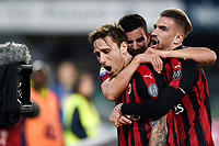 Lucas Biglia of AC Milan celebrates with Patrick Cutrone and Samuel Castillejo after scoring the goal of 0-1 <br /> Verona 9-03-2018 Stadio Bentegodi Football Serie A 2018/2019 Chievo Verona - AC Milan <br /> photo Image Sport / Insidefoto