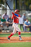 Elias Leon (11) during the Dominican Prospect League Elite Florida Event at Pompano Beach Baseball Park on October 15, 2019 in Pompano beach, Florida.  (Mike Janes/Four Seam Images)