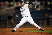 Charlotte Stone Crabs relief pitcher Reece Karalus (14) delivers a pitch during a game against the Palm Beach Cardinals on April 11, 2017 at Charlotte Sports Park in Port Charlotte, Florida.  Palm Beach defeated Charlotte 12-6.  (Mike Janes/Four Seam Images)