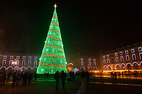 Lisbon, Portugal - December 23: A Christmas tree is seen at Comercio square in downtown Lisbon, Portugal December 23, 2019. <br /> The Christmas lights in Lisbon are getting more sophisticated and stunning each time, they are an attraction to locals and tourists to choose Lisbon as a place to spend the holidays<br /> (Photo by Luis Boza/VIEWpress/Corbis via Getty Images)