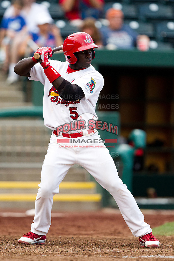 Jermaine Curtis (5) of the Springfield Cardinals at bat during a game against the Northwest Arkansas Naturals at Hammons Field on July 31, 2011 in Springfield, Missouri. Northwest Arkansas defeated Springfield 9-1. (David Welker / Four Seam Images)