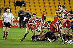 Ben Meyer passes from a ruck. Counties Manukau Steelers vs Bay of Plenty Steamers warm up game played at Mt Smart Stadium on 14th of July 2006. Counties Manukau won 25 - 20.