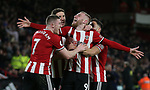 Chris Basham of Sheffield Utd, George Baldock of Sheffield Utd, John Lundstram of Sheffield Utd  and Oli McBurnie of Sheffield Utd celebrate McBurnie's goal during the Premier League match at Bramall Lane, Sheffield. Picture date: 10th January 2020. Picture credit should read: Chloe Hudson/Sportimage