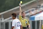 19 August 2014: Referee Mark Kadlecik (right) shows the yellow card to Duke's Seo-In Kim (23). The Duke University Blue Devils hosted the Radford University Highlanders at Koskinen Stadium in Durham, NC in a 2014 NCAA Division I Men's Soccer preseason match.