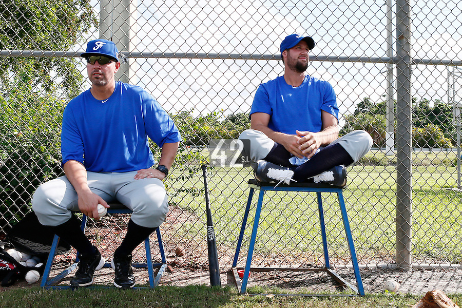 19 September 2012: Team France pitching coach Eric Gagne is seen next to coach Sammy Serrano during Team France friendly game against Palm Beach State College, during the 2012 World Baseball Classic Qualifier round, in Lake Worth, Florida, USA.