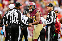 Landover, MD - November 18, 2018: Washington Redskins cornerback Josh Norman (24) argues with the Referee after being called for holding late in the fourth quarter of game between the Houston Texans and the Washington Redskins at FedEx Field in Landover, MD. The Texans defeated the Redskins 23-21. (Photo by Phillip Peters/Media Images International)