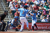 J.P. Crawford (3) of the Lehigh Valley Iron Pigs at bat against the Durham Bulls at Coca-Cola Park on July 30, 2017 in Allentown, Pennsylvania.  The Bulls defeated the IronPigs 8-2.  (Brian Westerholt/Four Seam Images)