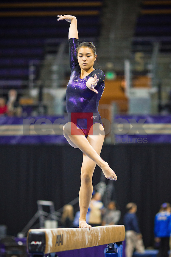 Phoebe Tham...Washington Huskies gymnastics vs. the UCLA Bruins at Alaska Airlines Arena at Hec Edmundson Pavilion in Seattle on Friday, January 27, 2012. (Photo by Dan DeLong/Red Box Pictures)