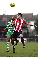 Christian Assombalonga of Waltham Abbey and Jay Porter of Hornchurch during AFC Hornchurch vs Waltham Abbey, Bostik League Division 1 North Football at Hornchurch Stadium on 13th January 2018